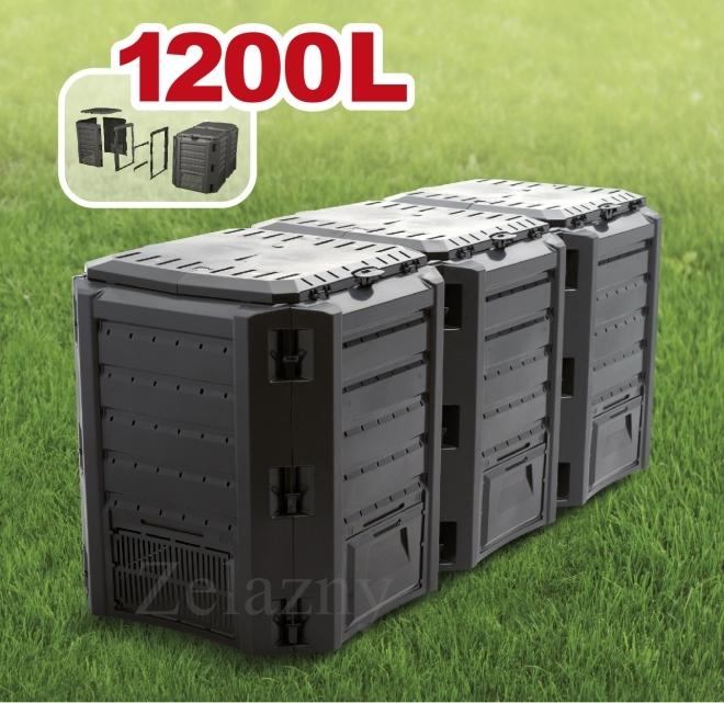 garten komposter 1200l schwarz modul thermo komposter. Black Bedroom Furniture Sets. Home Design Ideas