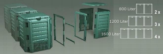 1600l garten komposter schwarz modul thermo komposter. Black Bedroom Furniture Sets. Home Design Ideas