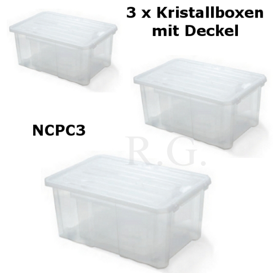 3er 4er oder 5er set aufbewahrungsbox kristallbox mit deckel lagerboxen ebay. Black Bedroom Furniture Sets. Home Design Ideas