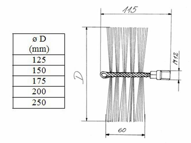 Zuggewicht 2,5kg Zugseil 12-50cm Schornsteinbesen Kaminbesen SET Stahldrahtl